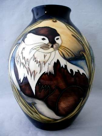 MOORCROFT COLLECTORS CLUB EVENT PIECES. Otters at Play vase 5683